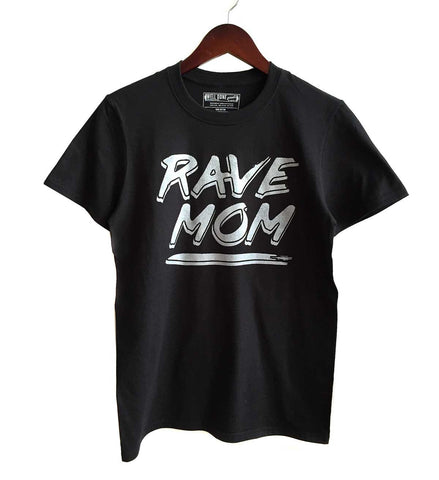 Rave Mom 90s Text Print T-Shirt, silver on black. Well Done Goods