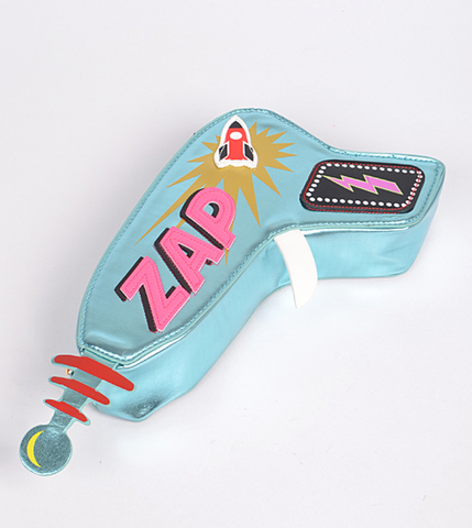 ZAP! Ray Gun, Sci-Fi 3D Crossbody Bag. Metallic blue