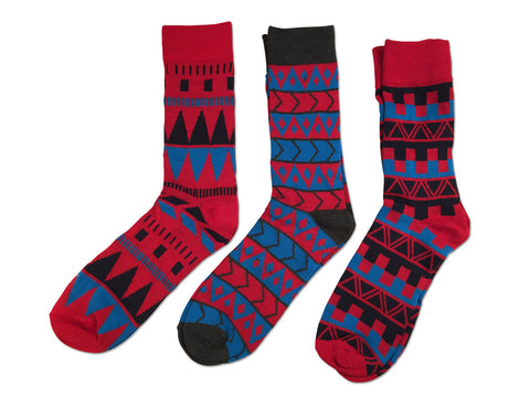 Parquet Fancy Socks, Red Geometric 3-Pack, by Well Done Goods