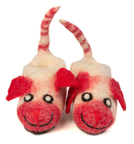 Red and White Puppy Wool Booties, Well Done Goods