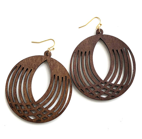 Dark Walnut Repeating Circles, Laser Cut Round Wood Drop Earrings