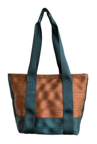 Brown and Green Repurposed Seatbelt Bag, Well Done Goods