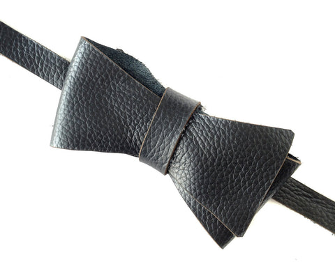 Rugged Black Automotive Leather Bow Tie