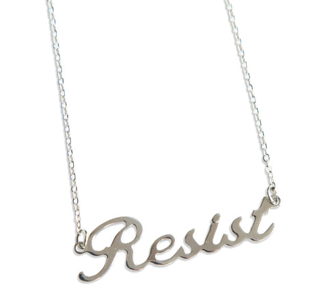Resist Silver Script Necklace Pendant, by Well Done Goods