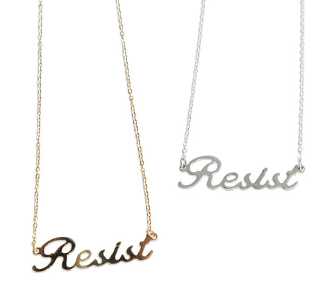 Resist Script Necklace Pendant, by Well Done Goods