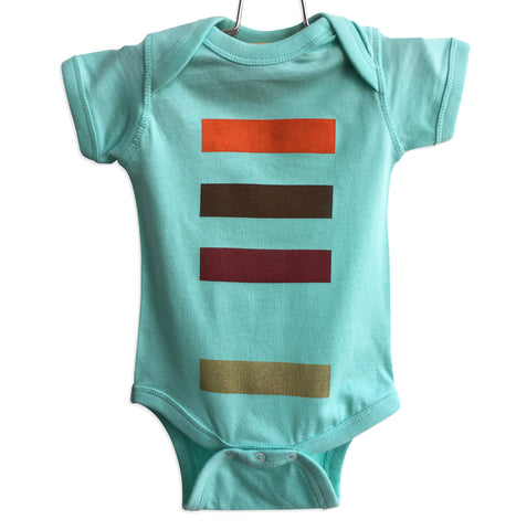 Resistor Code Baby Onesie, 4 colors on aqua. Well Done Goods