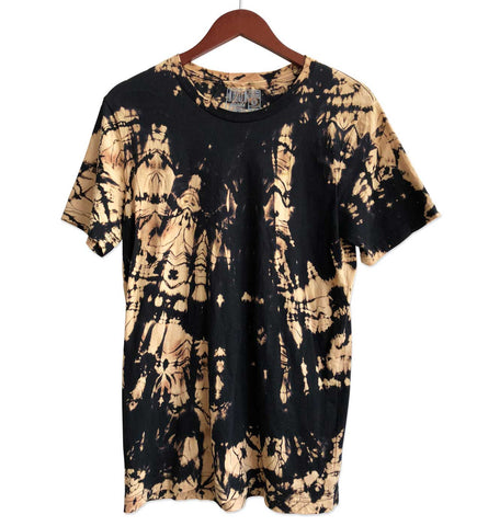 Black Reverse Dye T-Shirt, Crew Neck. Splotch pattern. Well Done Goods.