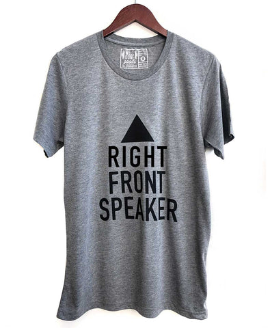 Right Front Speaker T-Shirt, Black on Heather Grey Triblend. Well Done Goods