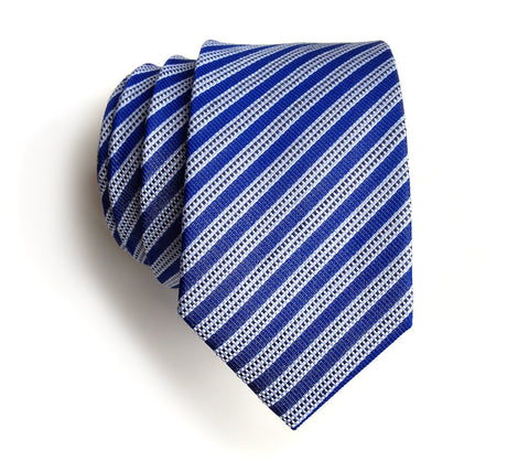 Riverside Blue Striped Silk + Linen Blend Woven Necktie