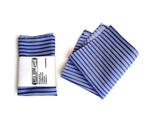 Riverside Blue Striped Linen + Silk Blend Woven Pocket Square