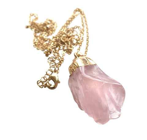 Rose Quartz Tumbled Stone Necklace, Well Done Goods