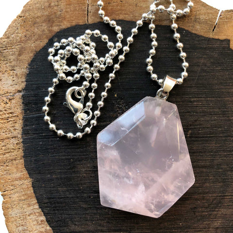 Large Rose Quartz Hexagon Crystal Pendant Necklace