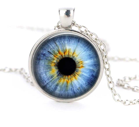 Glass Eye Necklace, Taxidermy Eyeball Pendant