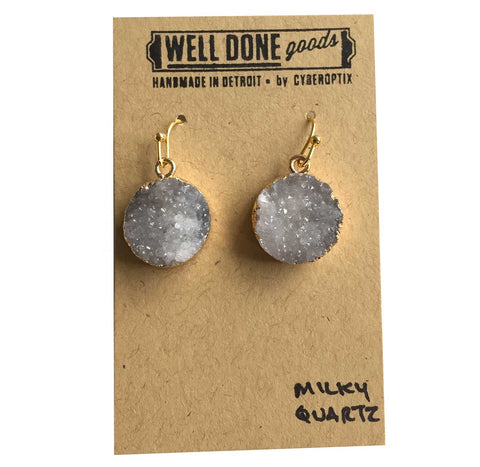 Round Milky Quartz Druzy Drop Earrings, Well Done Goods