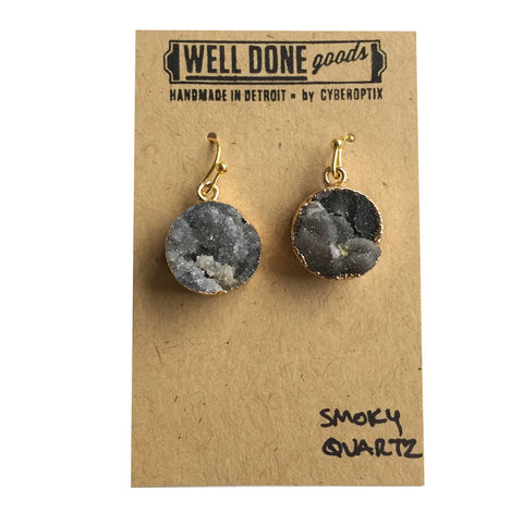Round Smoky Quartz Druzy Drop Earrings, Well Done Goods