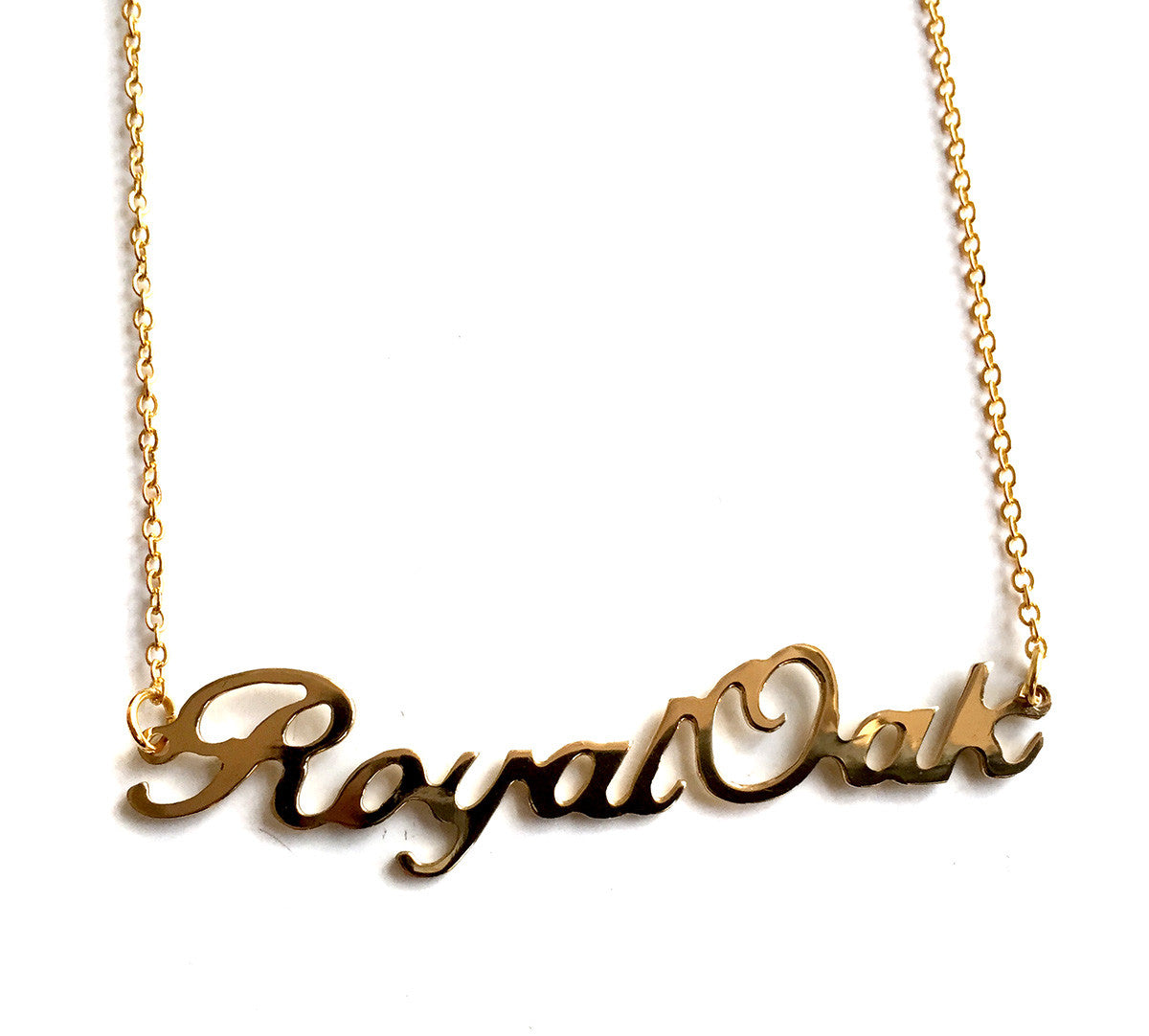 Royal oak script necklace neighborhood name pendant royal oak script necklace gold neighborhood name pendant aloadofball Gallery