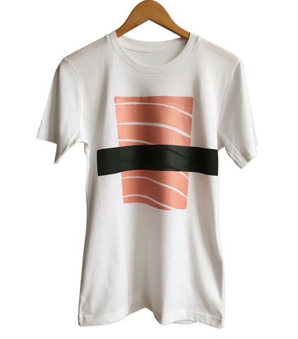 Salmon Sushi T-Shirt, Silkscreen Nigiri Print. Well Done Goods