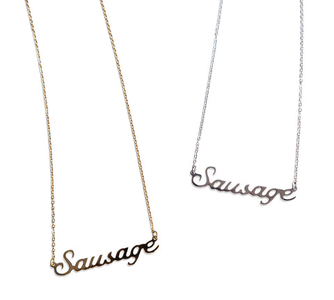 Sausage Script Necklace, Food Pendant, by Well Done Goods