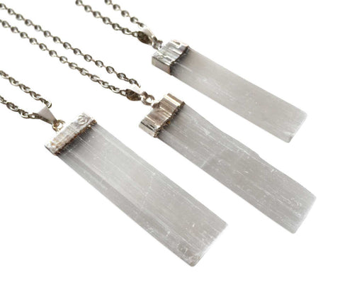 Selenite Bar Pendant, by Well Done Goods