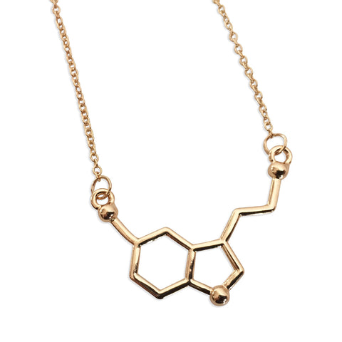 Gold Serotonin Molecule Pendant Necklace, Well Done Goods