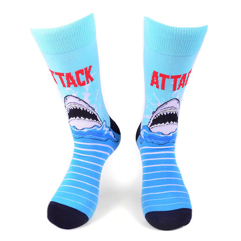 Shark Attack Socks, Parquet Fancy Men's Socks