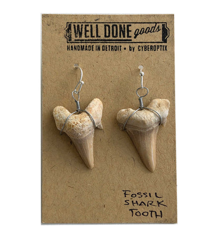 Shark Tooth Earrings, fossilized shark teeth, Well Done Goods