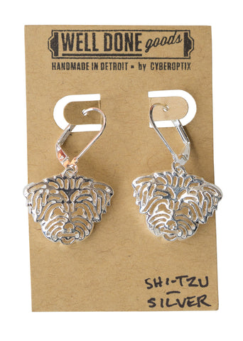 Shi Tzu Silver Dangle Earrings, Well Done Goods
