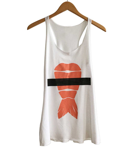 Shrimp Sushi Women's Tank Top, White Racerback, Ebi Nigiri Print. Well Done Goods