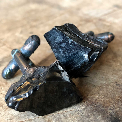 Noble Shungite Electroformed Cufflinks, black oxidized copper