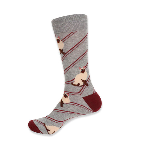 Siamese Cat Socks. Men's Fancy Socks, by Parquet.