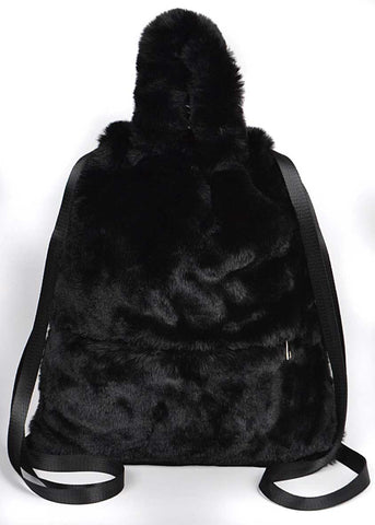 Silky, Fuzzy Faux Fur Backpack, with Handles
