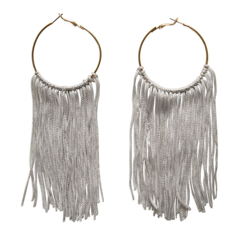Long Gold Circle Silver Tassel Dangle Earrings, Well Done Goods