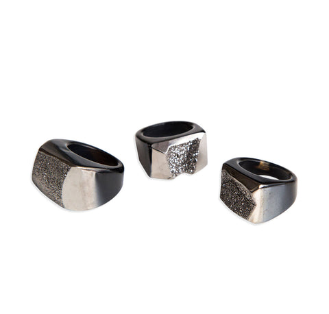 Silver Titanium Coated Carved Agate Druzy Rings, Well Done Goods
