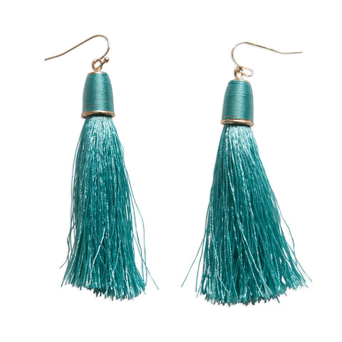Simple Teal Tassel Fringe Drop Earrings, Well Done Goods