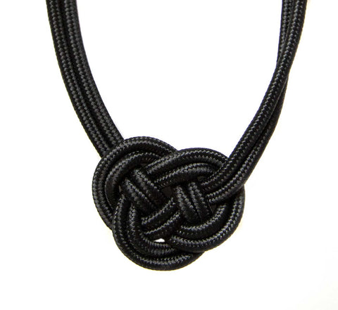 Single Knot Woven Rope Statement Necklace, Black