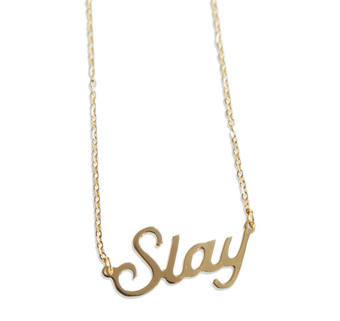 Slay Script Necklace Pendant, by Well Done Goods
