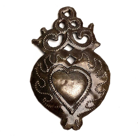 Haitian Metal Heart Milagro, Scroll Flaming Heart