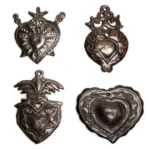 Haitian Metal Heart Milagros, Small Size