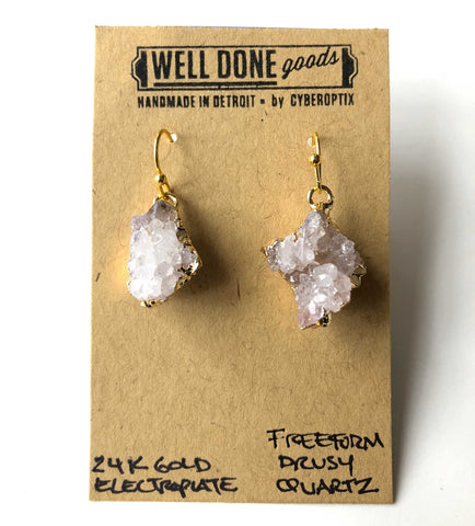 Freeform Quartz Crystal Druzy Drop Earrings, Well Done Goods