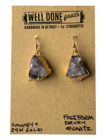 Freeform Druzy Drop Earrings, Smoky Quartz