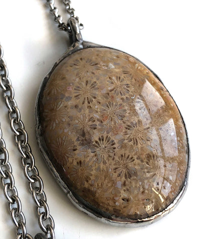Michigan Petoskey Stone Pendants, Medium Oval