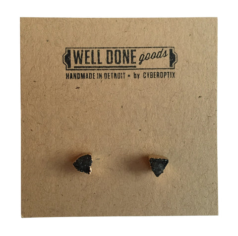 Tiny Triangular Druzy Stud Earrings, Smoky Quartz, by Well Done Goods