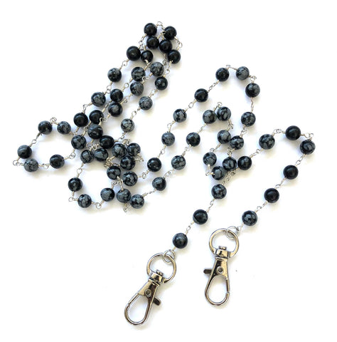 Snowflake Obsidian Stone Bead Mask Holder. Facemask lanyard, mask leash