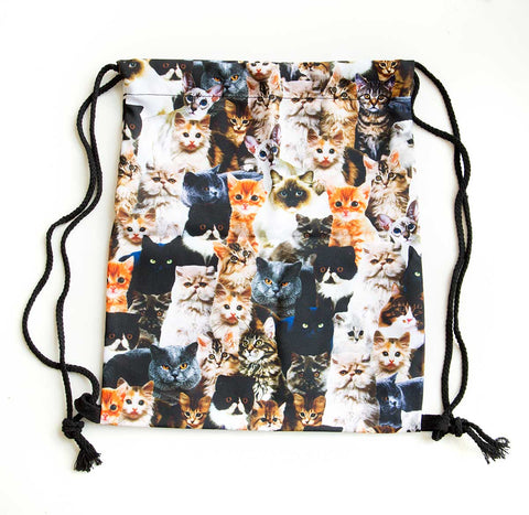 Drawstring Cat Bag, So Many Cats Pattern, Well Done Goods