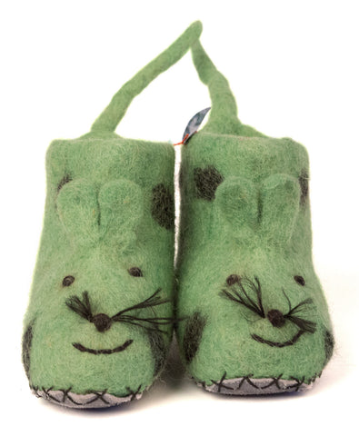 Tiger Solid Color Wool Booties, Light Green w/ Spots and Suede Bottom Booties, Well Done Goods