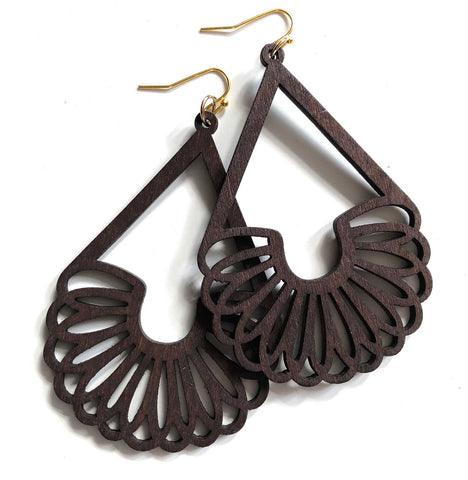Slinky Laser Cut Long Wood Drop Earrings, Well Done Goods