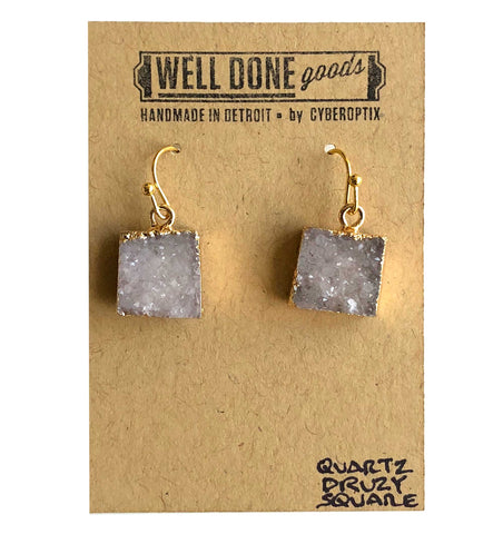 Square Quartz Druzy Drop Earrings