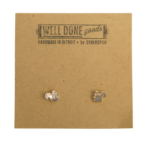 Squirrel Gold Stud Earrings, Well Done Goods