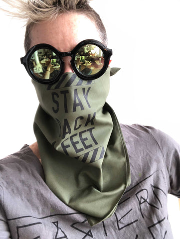 Stay Back 6 Feet Face Cover, Full Square Cotton Bandana. Black on Olive Drab