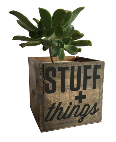 Stuff & Things Reclaimed Wood Planter, Desk Organizer